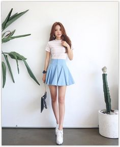 Godet A-Line Mini Denim Skirt #denimskirt #koreanfashion