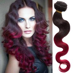 Vogue new 1B BURG# Ombre Body Wave Indian Real Human Hair Extension Remy Weft #WIGISS #HairExtension