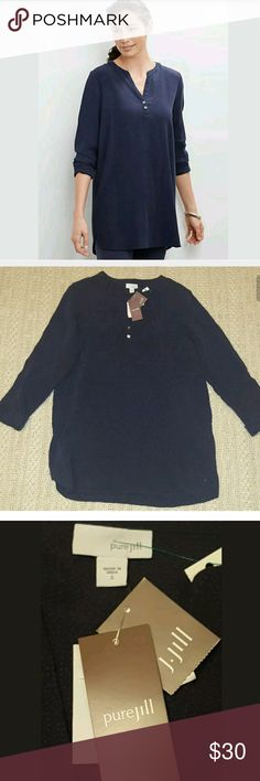 PURE J.JILL navy blue textured henley tunic blouse New with tags J. Jill Tops