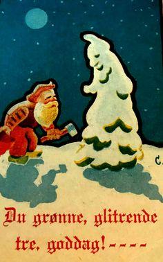 """Julekort Anna Eline Coucheron utg E. Greens Forlag 1940-tallet """"Du grønne glitrende tre, Goddag"""" Christmas Cards, Christmas Postcards, Norway, Movie Posters, Anna, God, Christmas E Cards, Dios, Xmas Cards"""