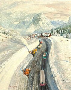"""size: Giclee Print: """"Snowplows at Snoqualmie Pass,"""" Saturday Evening Post Cover, February 1960 by John Clymer : Snoqualmie Pass, Saturday Evening Post, February 6th, West Art, National Art, Snow Plow, Vintage Ski, Wildlife Art, Giclee Print"""