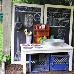 mud pie kitchens.  awesome idea!