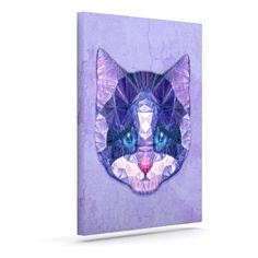 """Ancello """"Cute Kitten"""" Purple Cat Outdoor Canvas Art"""