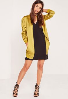 Longline Satin Bomber Jacket Chartreuse Green | via @Missguided | $56.53 | #Chic Only #Glamour Always