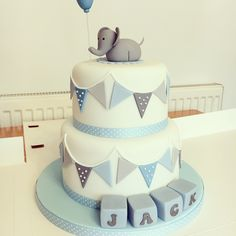 Boys christening cake #elephant Baby Dedication Cake, Baby Boy Christening Cake, Cake Name, Cakes For Boys, Girl Cakes, Baby Shower Cakes, Cake Designs, Nursery, Party