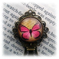 Pink Butterfly Bookmark by ElysianWorkshop on Etsy