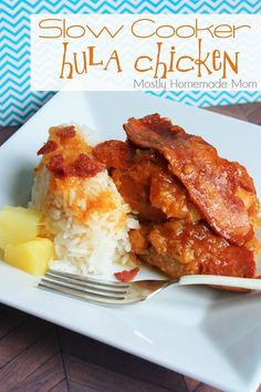 Slow Cooker Hula Chicken over Jasmine Rice - Tender, moist chicken slow cooks in BBQ sauce and crushed pineapple!