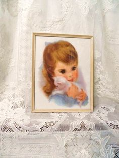 FRANCES HOOK Northern Tissue Paper Advertising-Vintage Framed Print-American Beauties-Girl & White Kitten-Francis-Orphaned Treasure-080516B by OrphanedTreasure on Etsy