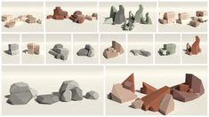 Contains 24 low poly rocks as .dae mesh files and ready-to-use prefabs.  Includes four different colorschemes (as materials) which can be applied to every rock: - Grey - Sand - Orange - Green  Rock Types: - prism shaped rocks with cracks - roundish boulders - spiky rocks - flat stone-plates - simple inclined rocks - cuboid shaped rocks  Unity Forum Thread   The following models of the screenshots are not included: - the terrain - the trees are from the Low Poly Tree Pack
