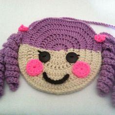 Crochet Lalaloopsy Purse No PatternLittle boy/girl crochet purse Crochet Girls, Crochet Art, Cute Crochet, Crochet Motif, Crochet Crafts, Crochet Flowers, Crochet Toys, Crochet Projects, Crochet Patterns