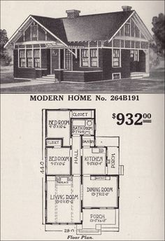 "Modern Home No. 264B191  1916 SEARS ROEBUCK MODERN HOMES         Sears' mastery at anticipating the desires of early 20th century home buyers is easily seen in Modern Home No. 264B191. Like many of the plans, it's small, but has a logical, ""modern"" flow between spaces. Its solid Craftsman style, attractive facade, and convenient layout would have appealed to many buyers. Even by today's standards, it's a jewel of a house at about 1100 square feet. This plan was available only from 1912 to 1916."