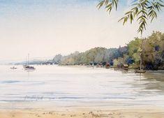 Ammersee, Boot, Wasser, Bootshäuser, Aquarell, Landschaften