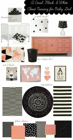 Love! A coral, black, and white nursery for a little girl via http://@Lacy Beckstrom Beckstrom Beckstrom Beckstrom Stroessner // LIVING ON LOVE