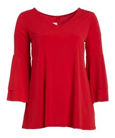 Another great find on #zulily! Red Layered Bell-Sleeve Tunic - Plus #zulilyfinds