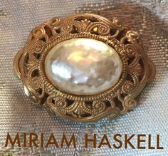 Miriam Haskell Signed Brooch Baroque Pearl Russian Gold Tone | eBay