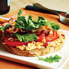 Open-Faced Pimiento Cheese BLTs Recipe--less than 300 calories