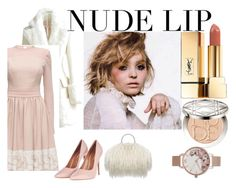 """""""NUDE LIP"""" by elza-345 ❤ liked on Polyvore featuring beauty, WithChic, Lattori, Topshop, Yves Saint Laurent, Christian Dior and Olivia Burton"""