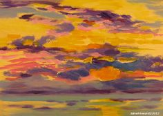 """Sunrise at the beach  May 6, 2012  oil on panel, 5x7""""  The sun is up! 10 minute painting"""