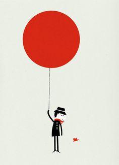 Illustration by Blanca Gomez Retro Vintage, Vintage Poster, Illustration Design Graphique, Illustration Art, Modern Graphic Design, Graphic Design Inspiration, Graphic Designers, Fashion Designers, Red Balloon