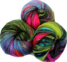 Midsummer Circus batts -- (4.3 oz. per set) merino wool, tencel, silk, alpaca, sparkle, sari silk.
