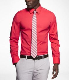 FITTED 1MX SPREAD COLLAR SHIRT | Express | Men's fashion ...