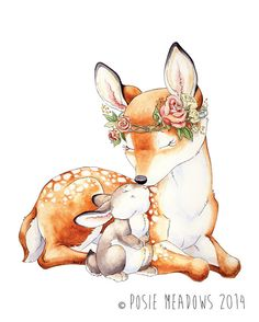 Little Dear Baby Deer and Bunny Fawn Watercolor by PosieMeadows Bunny Drawing, Bunny Art, Art And Illustration, Illustrations, Baby Animal Drawings, Cute Drawings, Baby Wall Art, Nursery Wall Art, Deer Nursery