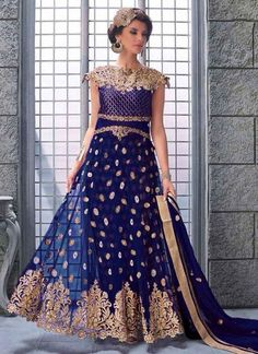 Navy Blue Booti Work Lace Border Net Santton Party Wear Anarkali Salwar Kameez. Buy Online Shopping Long Anarkali Salwar Kameez At -Canada