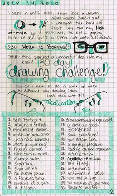 30 day drawing challenge. such a fun idea!