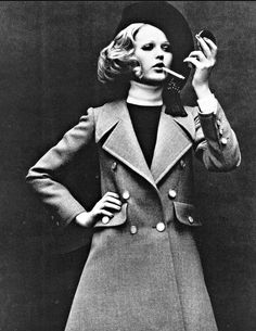 1968 Margrit Ramme in Yves Saint Laurent's pale grey double breasted wool coat and navy beret with cord and tassel, photo by Helmut Newton, Queen,
