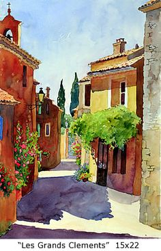 Street Scene, Les Grands Clements , 15x22 - Marie Gabrielle. From Paris and now living in Santa Cruz, CA for a number of years - watercolorist.