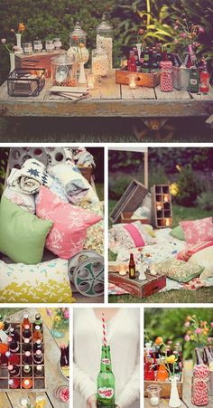 Outdoor cinema party best party snacks table and a dreamy jumble of cushions and quilts! Look / inspiration anniversaire jeune fille / teen - girl - birthday party Backyard Movie Nights, Outdoor Movie Nights, Outdoor Movie Party, Outdoor Parties, Backyard Parties, Outdoor Weddings, Kino Party, Cinema Party, Deco Champetre