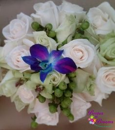 Bouquet with Roses, Orchid & Hypericum Berry Accent