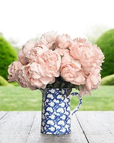 A decorative home run: Tory Burch Spongeware  + pale pink peonies