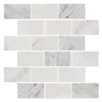 Hampton Carrara Tumbled Amalfi Marble Mosaic Tile - 2 x 4 in. $14.99 Sq Ft     			 					Coverage 10.28 Sq Ft per  Box