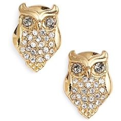 kate spade new york owl stud earrings found on Polyvore featuring jewelry, earrings, accessories, 14k earrings, post earrings, long earrings, boho earrings y 14k gold plated earrings