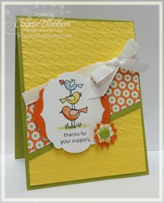 #SU - For the Birds: I love the watercolored birds and the angled DSP and ribbon on this fun card!