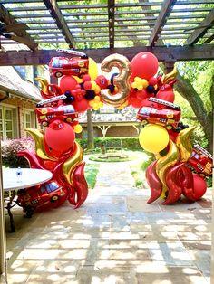 Organic balloon arch for boys birthday. Firefighter Birthday Cakes, Fireman Birthday, Fireman Party, Fire Balloon, Balloon Arch, Balloons, Birthday Party Tables, 3rd Birthday Parties, Birthday Fun