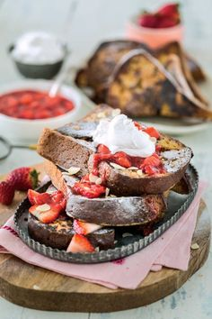 """This recipe for Vanilla French Toast with Strawberry Sauce from Kristy Turner's cookbook """"But My Family Would Never Eat Vegan!"""" will be the star of your breakfast."""