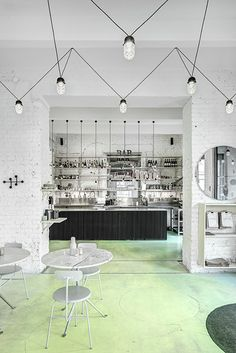 Phill's Corner Bistro Interior Design   mint-green concrete floor