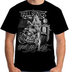 Velocitee Mens T-Shirt Full Service Biker Chopper Bobber Pin Up Retro A17562 #VelociteeSpeedShop