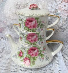 Vintage Lefton Stacking Teapot Stack Tea Pot Shabby HP Pink Roses China Chic | eBay