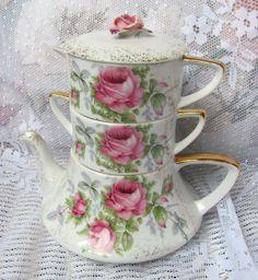 Vintage Lefton Stacking Teapot Stack Tea Pot Shabby HP Pink Roses China Chic | eBay
