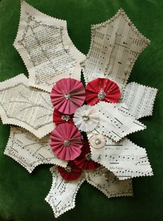music + book page holly with paper or crepe paper medallions