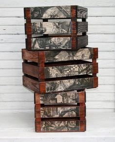DIY decoupage on crates, and paint to make them contrasty, home decor, stylish storage Pallet Crates, Wood Crates, Wood Pallets, Decoupage Furniture, Painted Furniture, Diy Furniture, Decoupage Ideas, Wood Projects, Craft Projects