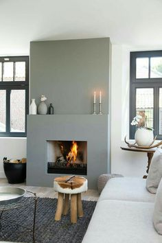 Chimenea minimalista para un salón actual | mi hab | Pinterest | Fireplaces, Grey and Built ins
