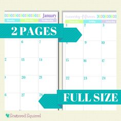 Free Printable 2015 Full Size Calendar with 2 Pages per month. | ScatteredSquirrel.com