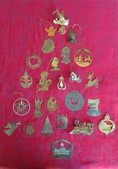 Brass and Gold Tone Lot of 25 Assorted Vintage Christmas Tree Ornaments or use for an Advent Calendar may have wear, missing hangers and/or