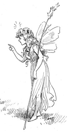 fairy angels to color and print - Yahoo Image Search Results Fairy Sketch, Fairy Drawings, Vintage Fairies, Fairytale Art, To Color, Digi Stamps, Future Tattoos, Colouring Pages, Book Illustration