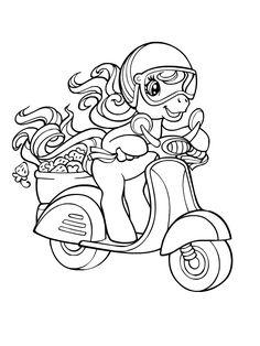 Petit poney en scooter