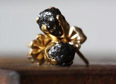 Rough Black Diamond Stud Earrings